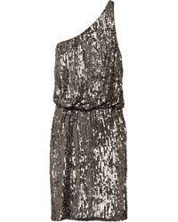 Halston Heritage Oneshoulder Sequined Crepe Dress - Lyst