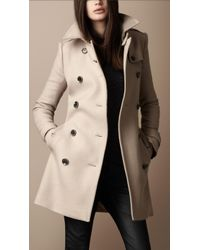 Burberry Brit - Midlength Wool Twill Trench Coat - Lyst