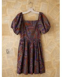 Free People Vintage Batik Printed Bubble Sleeve Dress - Lyst
