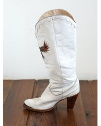 Free People Vintage White Leather Cowboy Boots - Lyst
