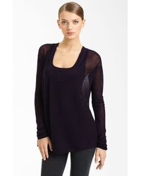 Donna Karan New York Collection Mesh Cashmere Top - Lyst