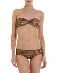 Lanvin - Metallic Ruched Bikini - Lyst