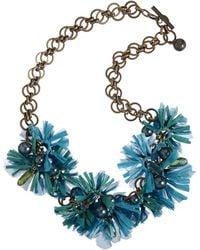 Lanvin Raffia Mask Flower Small Necklace blue - Lyst
