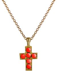 Me&Ro - Cross Pendant with Vintage Coral - Lyst