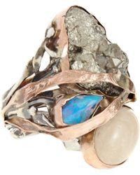 Sandra Dini - Lava Pyrite Blue Opal Ring - Lyst