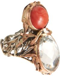 Sandra Dini - Red Coral Rock Crystal Ring - Lyst