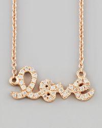 Sydney Evan Rose Gold Diamond Love Necklace pink - Lyst