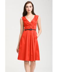 Jessica Simpson Belted Vneck Fit Flare Dress In Yellow Lyst