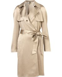Topshop Premium Draped Lame Trench - Lyst