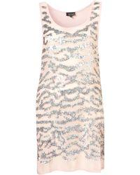 Topshop Animal Embellished Tunic pink - Lyst