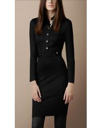 Burberry Brit Structured Wool Blend Dress - Lyst