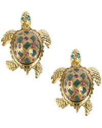 Betsey Johnson Gold-Tone Turtle Stud Earrings - Lyst