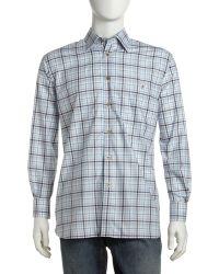 Ike Behar - Plaid Buttondown Shirt Bluetan - Lyst