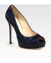 Jimmy Choo Crown Glittercoated Leather Peep Toe Pumps - Lyst