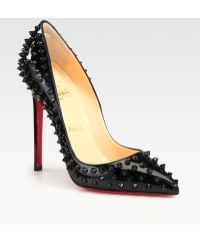 Christian Louboutin Studded Patent Leather Pumps - Lyst