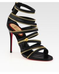 Christian Louboutin Unzip Leather Sandals - Lyst
