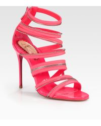 Christian Louboutin Unzip Patent Leather Sandals - Lyst