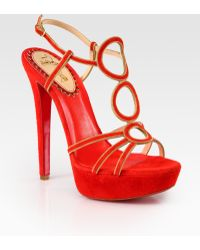 Christian Louboutin Troisronds Suede and Chain Platform Sandals - Lyst