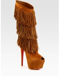 Christian Louboutin Highness Tina Suede Fringe Knee High Boots - Lyst