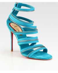 Christian Louboutin Unzip Suede Sandals - Lyst