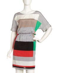 DKNY Colorblock Gatheredwaist Dress - Lyst