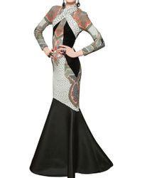 Etro Silk Duchesse Viscose Cady Long Dress - Lyst