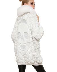 Philipp Plein Fox Fur Skull Lurex Jacquard Knit Coat white - Lyst