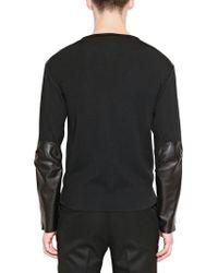 Saint Laurent Nappa Leather Silk Jersey Sweater - Lyst
