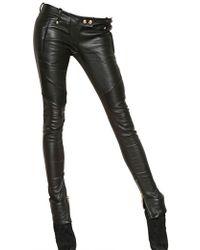 Balmain Soft Nappa Leather Biker Trousers - Lyst