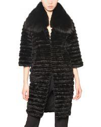 Jo No Fui Rabbit and Mink with Fox Collar Fur Coat - Lyst