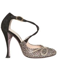 Nina Ricci - 110mm Suede and Glitter Cross Over Pumps - Lyst
