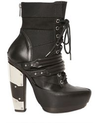 Rodarte 120mm Mirrored Heel Leather Combat Boots black - Lyst