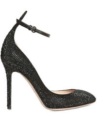 Valentino 100mm Calf Suede Crystals Pumps - Lyst