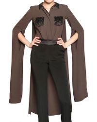 Viktor & Rolf Embroidered Silk Crepe De Chine Shirt brown - Lyst
