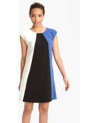 Donna Ricco Colorblock Crepe Shift Dress - Lyst