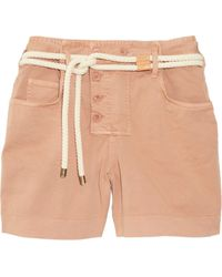 See By Chloé Belted Stretch Cottonblend Twill Shorts - Lyst