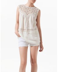Zara Blouse with Lace Bib Front - Lyst