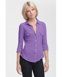 James Perse Button Front Jersey Shirt - Lyst