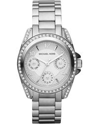Michael Kors Minisize Blair Multifunction Glitz Watch Silvercolor - Lyst