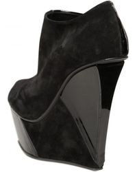 Diego Dolcini 140mm Suede and Patent Open Toe Wedges - Lyst