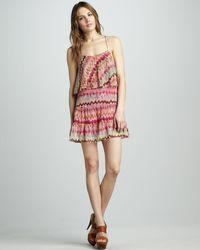 Haute Hippie Ruffle Printed Dress - Lyst