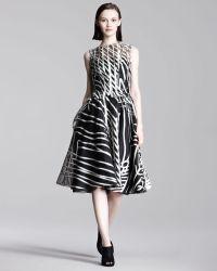 Lela Rose Labyrinth Organza Dress - Lyst