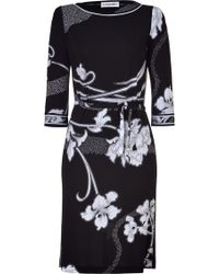 Leonard - Blackwhite Deco Print Silk Dress - Lyst