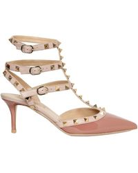 Valentino 65mm Rock Stud Patent Pointy Sandals - Lyst