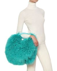 Blumarine - Leather Mongolian Fur Shoulder Bag - Lyst