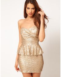TFNC Sequin Dress with Peplums - Lyst
