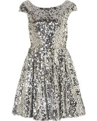 Topshop Sequin Skater Dress - Lyst