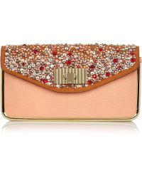 Chloé Sally Swarovski Crystal -Embellished Leather Clutch - Lyst