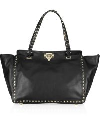Valentino Studded Leather Tote - Lyst