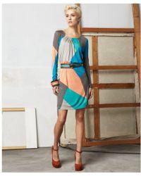 Doo. Ri Scoop Neck Long Sleeve Geometric Printed Pleated Belted - Lyst